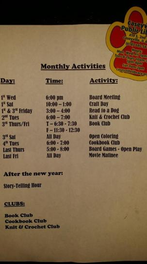 monthly activites